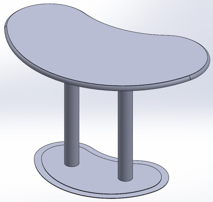 Exposition Table with Rounded Front Edge